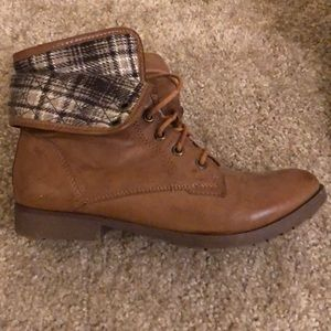 Brown ankle bootie with plaid cuff
